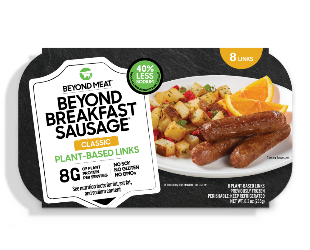 A package of Beyond plant-based sausage links with eight grams of protein per serving.